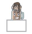 grinning with board milkshake character cartoon vector image vector image