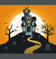halloween background with castle and full moon vector image vector image