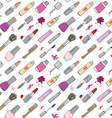 Hand drawn make up cosmetics and beauty items vector image