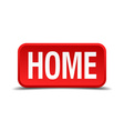 Home red 3d square button on white background vector image vector image
