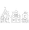 line art with isolated european medieval houses vector image