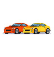 luxury red and yellow cars flat vector image vector image