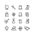 Magic and magician tools thin line icons vector image