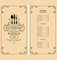 menu for restaurant with price list and cutlery vector image vector image