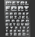 metal font 3d on a transparent background vector image vector image