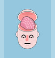 open head and brain isolated vector image