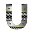 perforated metal letter U vector image vector image