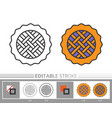 pie linear icon coloring page vector image