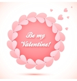 Pink realistic paper hearts circle frame vector image