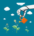 robot watering flower with gear vector image vector image