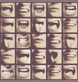 seamless pattern with human mouths and lips vector image