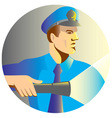 security guard policeman flashlight vector image vector image