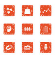 service certificate icons set grunge style vector image