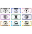 Set of banknotes for playing board games monopoly