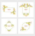 set of cards with floral frames wedding ornament vector image vector image