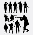 soldier military silhouettes vector image vector image