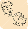 stylised brother and sister vector image vector image