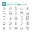 tea and coffee line icons vector image