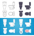 toilet bowl silhouette front side and top view vector image