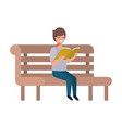 young student sitting reading book vector image