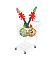 Electric Guitar with Red Ribbon in Shopping Cart vector image