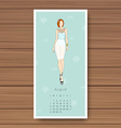 august hand drawn fashion models calendar 2016 vector image vector image