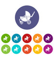 baby carriage modern icons set color vector image vector image