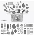 basket with different products line monochrome vector image