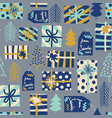 blue christmas seamless background gift vector image vector image