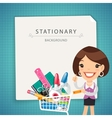 Blue Stationary Background with Female Manager vector image vector image