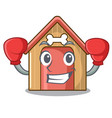 boxing cartoon funny dog house with dish vector image