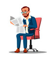 businessman in suit reading a newspaper in vector image
