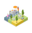 cage with zebras isometric 3d icon vector image