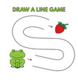 cartoon frog draw a line game for kids vector image vector image
