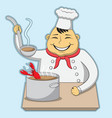 character chef cooks lobster bisque vector image vector image