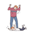 child trowing a tantrum and father yelling vector image