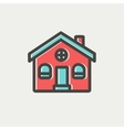 Church building thin line icon vector image vector image