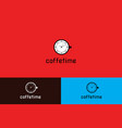 coffee time with clock logo vector image vector image