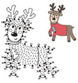 connect the dots and draw a cute deer vector image vector image