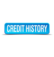 credit history blue 3d realistic square isolated vector image vector image