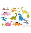 cute dinosaurs collection isolated elements set vector image vector image