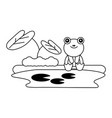 cute frog sitting in the lake vector image vector image