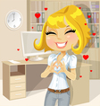 Cute girl clasped hands in the heart of the office vector image vector image