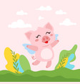 cute pink flying pig vector image vector image
