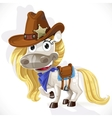 Cute saddled white Horse in a cowboy hat vector image vector image