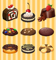 Different kind of dessert chocolate flavor vector image vector image
