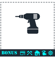 Drill icon flat vector image vector image