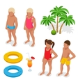Girl and boy in a bathing suit palm tree life vector image vector image