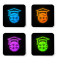 glowing neon graduation cap on globe icon vector image vector image