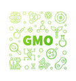 gmo square concept green outline vector image